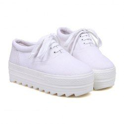 19.77 Casual Canvas Women's Platform Shoes With Lace-Up and Round Toe