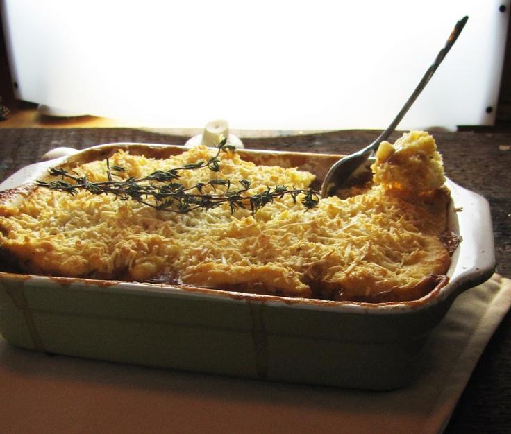 mushroom and lentil pot pie with gouda crust