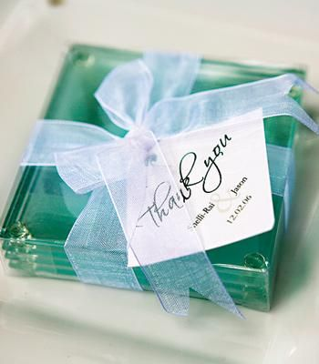 Glass Coaster Wedding Favors