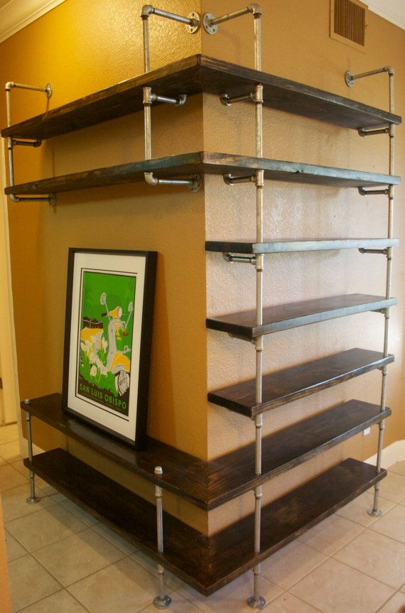 industrial pipe shelving entertainment unit entertaiment. Black Bedroom Furniture Sets. Home Design Ideas