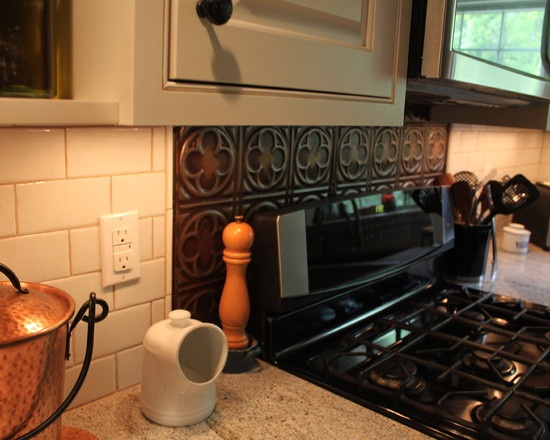 tin backsplash just behind the stove home ideas pinterest