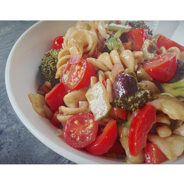 Pasta salad with a balsamic and rice vinaigrette. Whole wheat pasta ...