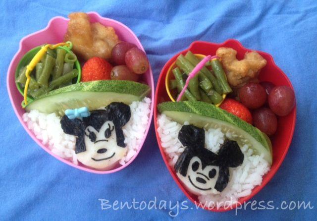 Mickey Mouse and Minnie Mouse bento | My Bentos - Bentodays | Pintere ...