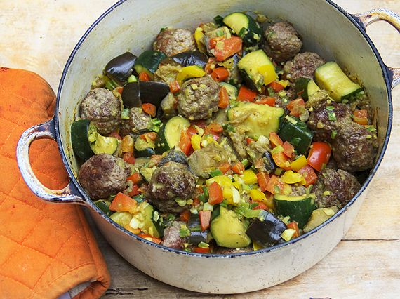 Indian-spice braised ratatouille with lamb meatballs- skip the bread ...