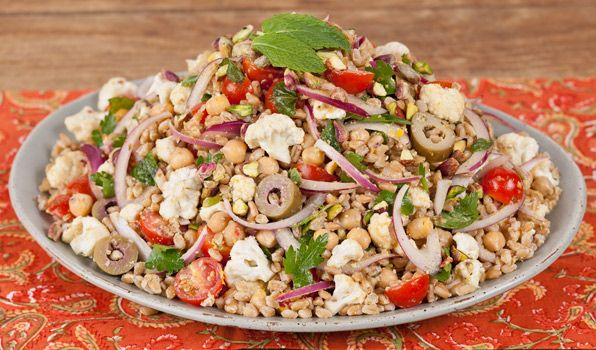 Farro & Chickpea Salad with Pistachio Dressing. Can use brown rice or ...