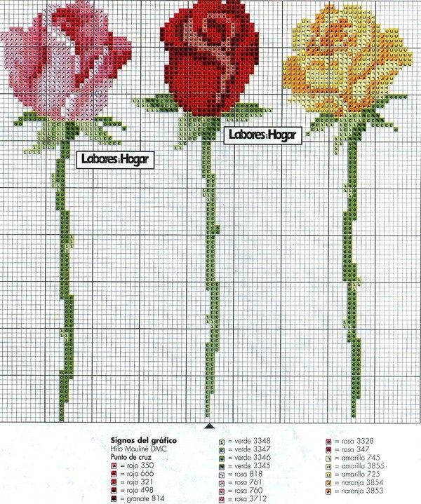 Вышивка крестом роза простая схема 84