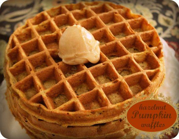 Pumpkin Hazelnut Waffles with Cinnamon Honey Butter