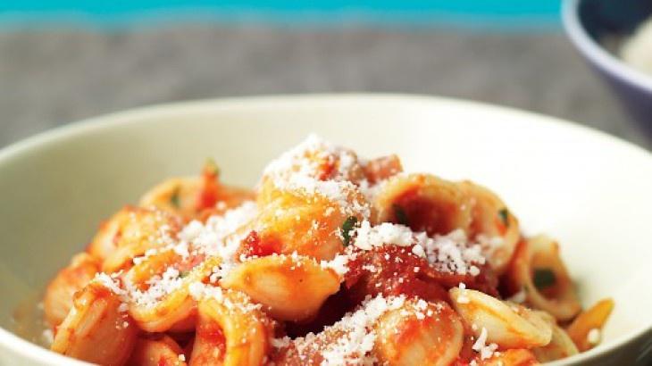 Orecchiette with Bacon and Tomato Sauce | foooood | Pinterest