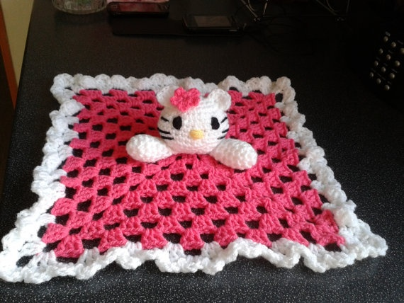 Baby Blankie. Security blanket. Crocheted Hello Kitty ...
