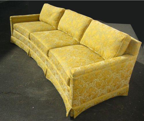 Vintage Henredon Goose Down Sofa Couch Gold Silk Brocade