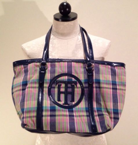 ... Hilfiger Spring madras Purse Blue Pink Plaid Handbag shoulder Tote Bag