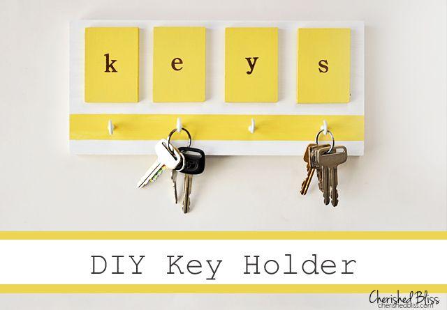 A brightly colored DIY Key Holder. #DIY