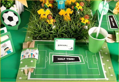 Adorable table set up for Soccer Party!!