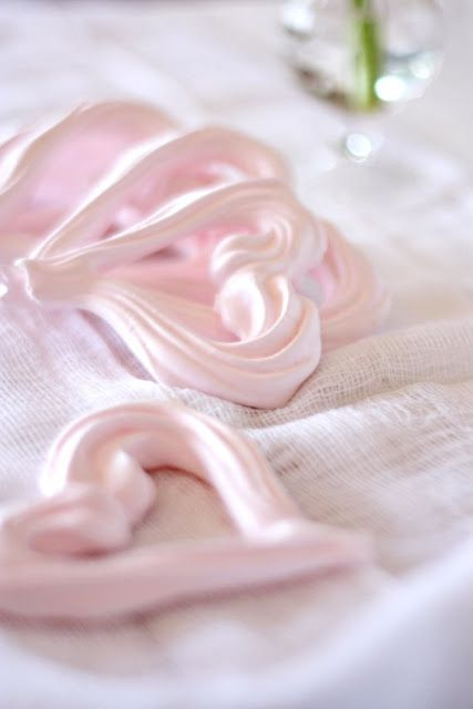 blood orange sherbet & pink heart meringues