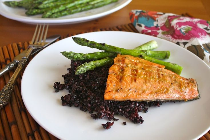 The colors included in Grilled Salmon with Orange-miso Glaze and Black ...