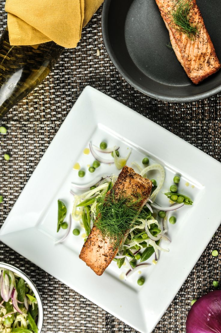 Seared Salmon With Sugar Snap Pea and Fennel Slaw - Dairy & Gluten ...