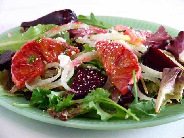 Roasted Beet Salad with Shaved Fennel, Blood Oranges and Goat Cheese