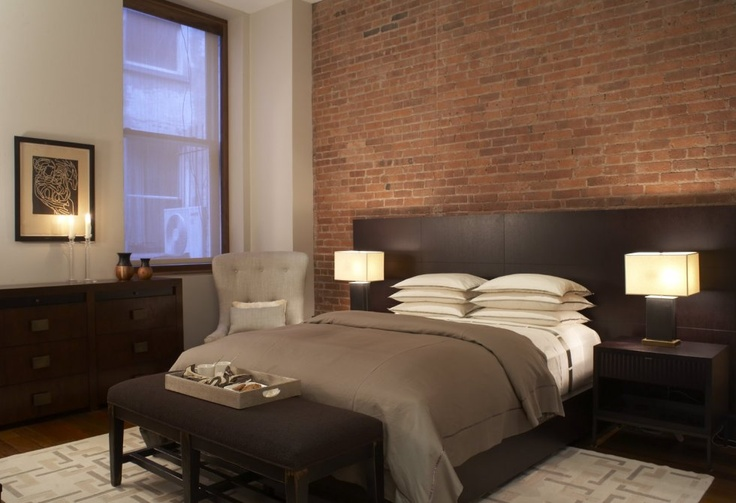 Brick accent wall master suite pinterest for Brick accent wall bedroom