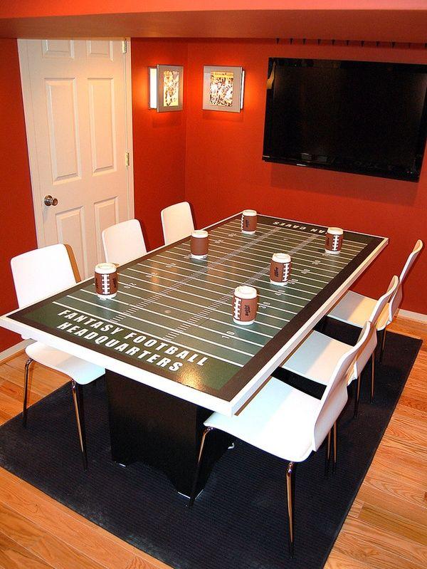Football Man Cave Decor : Fantasy football table roboreel mancave