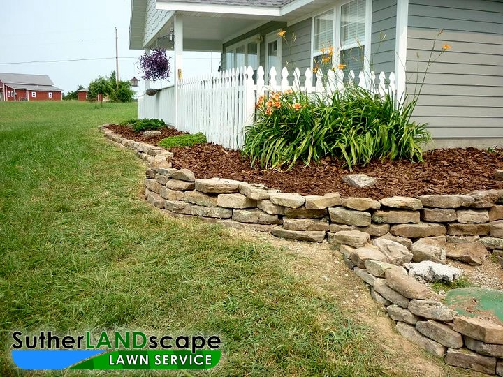 Natural stone edging out of doors pinterest for Rock garden edging