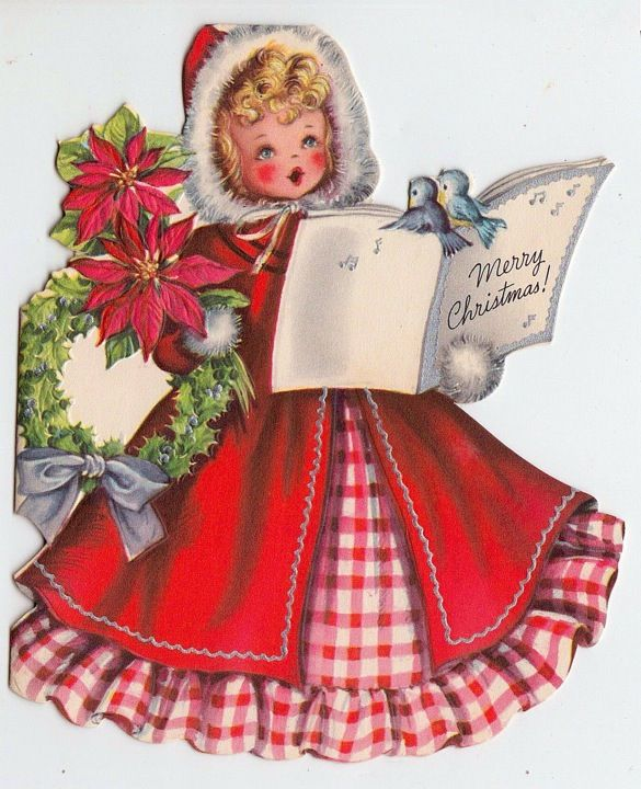 Vintage Christmas Girl with Bluebird Singing Greeting Card