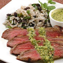 Grilled Flank Steak with Chimichurri and Jalapeno Black Beans and Rice