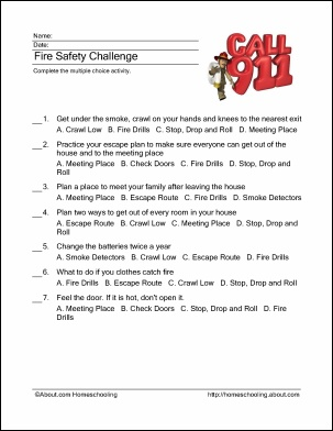 Fire safety worksheets for adults
