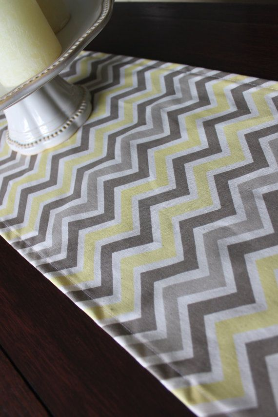 Yellow 13x72 etiquette runner Chevron Table White Runner/Bridal Shower    table Gray, and