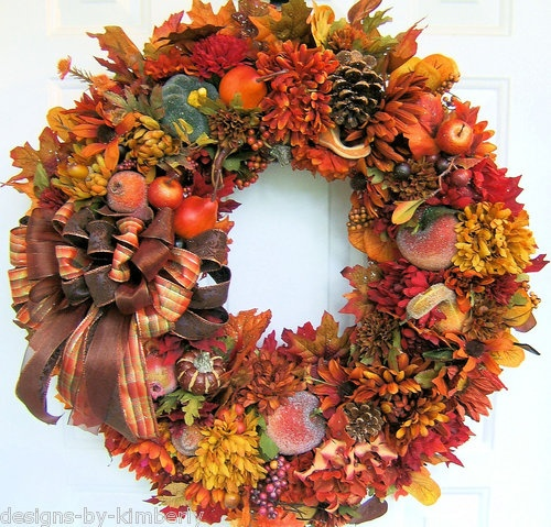 Large custom order handmade autumn wreath fall wreath Fall autumn door wreaths