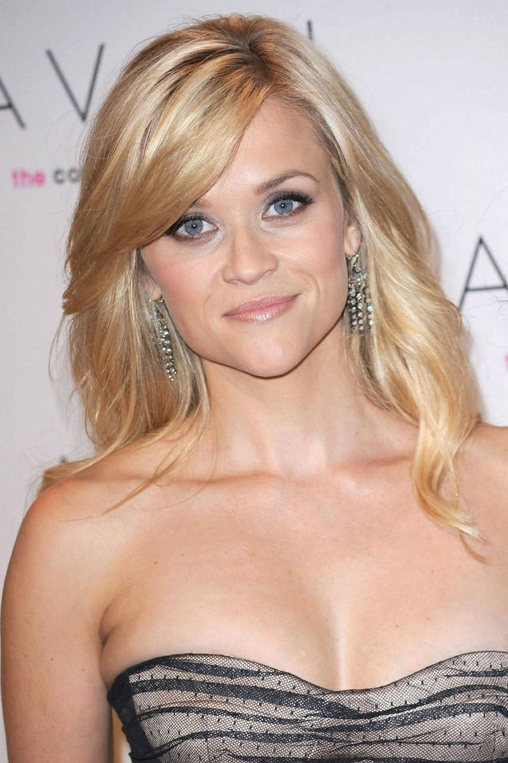 side swept bangs heart shaped face. Reese Witherspoon