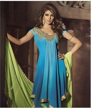 Buy Faux Georgette Suit With Dupatta online at best price in India @ fashionandyou.com