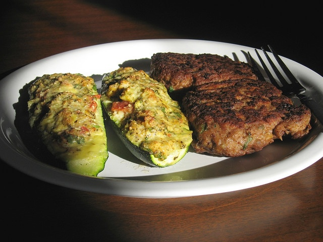 Bean and turkey burger with stuffed zucchini by arimou0, via Flickr