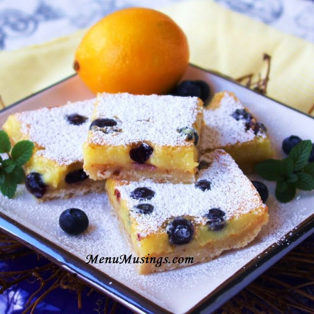 Blueberry Lemon Bars with Coconut in the crust! http://menumusings ...