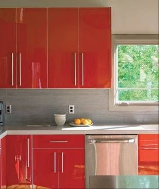 High gloss red white contemporary kitchen pinterest for White shiny kitchen cabinets