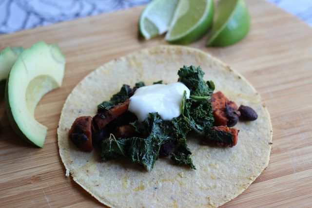 The Kitchen Holiday: Sweet Potato, Black Bean, and Kale Tacos