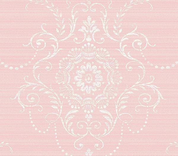 Pink Large Damask Wallpaper