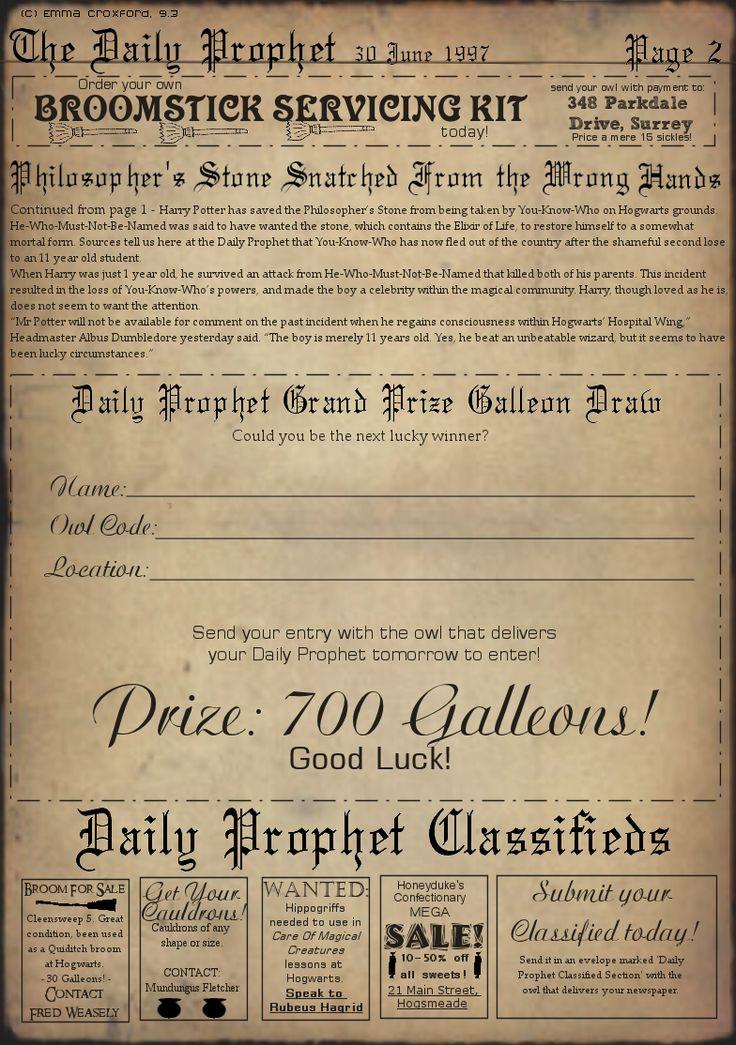 Similiar Harry Potter Daily Prophet Printable Keywords