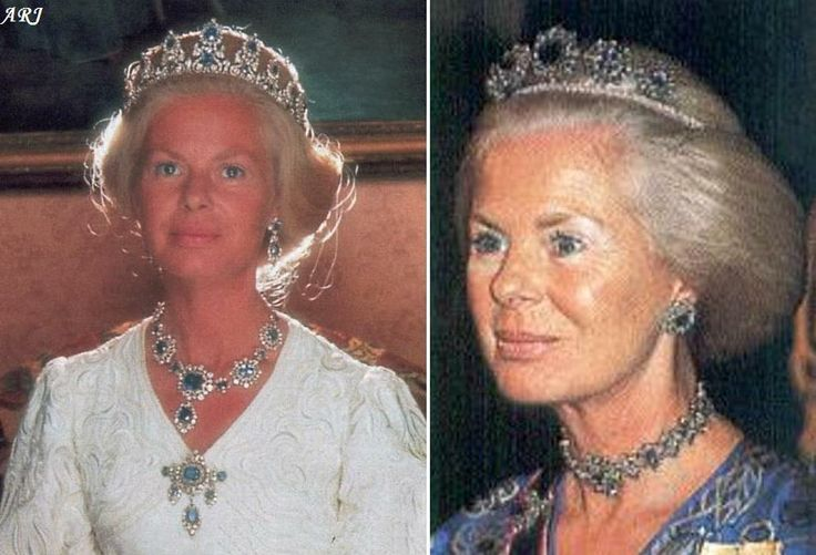 The Duchess of Kent wearing the original tiara, necklace, stomacher and earrings (left), and the new button tiara