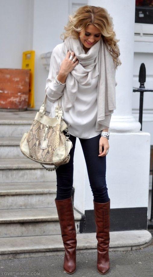 fall fashion fashion boots stylish sweater scarf