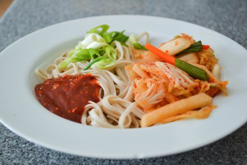 bibim guksu, Korean spicy cold noodles | farmer's market | Pinterest