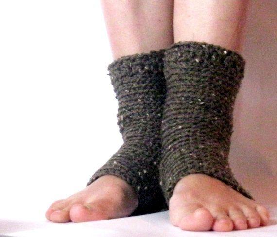 Free Crochet Pattern Toeless Socks : Brown Crochet Yoga Socks, Womens Toeless Socks, Exercise ...