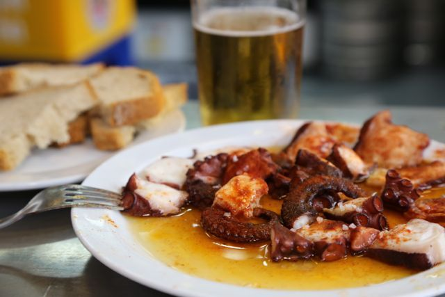 Octopus salad with paprika and amazing Spanish olive oil.