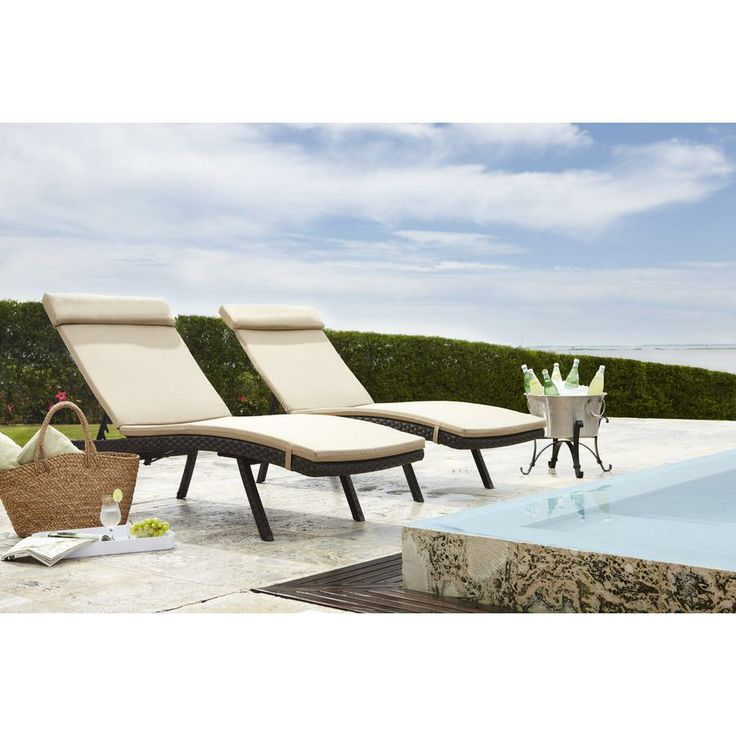 Allen roth woven aluminum patio chaise lounge zlba068 9 for Allen roth steel patio chaise lounge