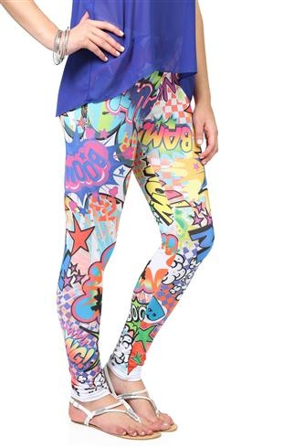 multicolor comic print leggings