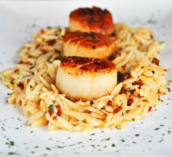 Sun Dried Tomato and Basil Orzo (served warm or cold) with Seared ...