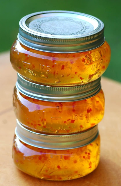 Habanero Gold Jelly.  I will be trying this recipe when the peppers come into season.  Beautiful