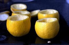 Lemon mint granita from Smitten Kitchen, I love the lemon cups!