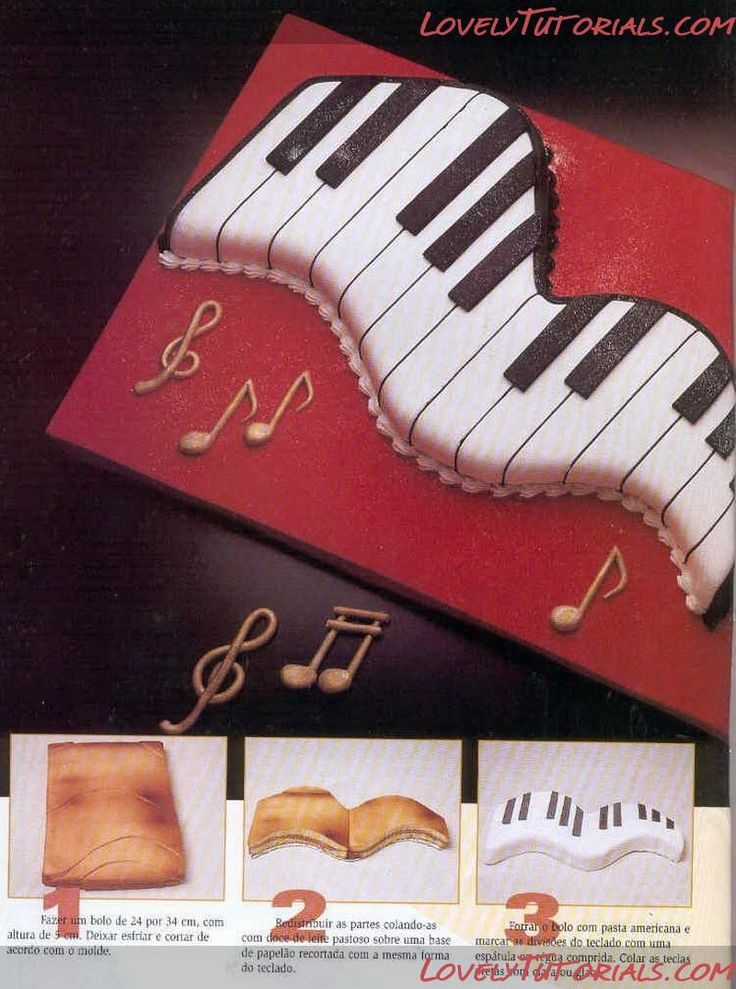 Designs For Keyboard Or Piano Birthday Cakes