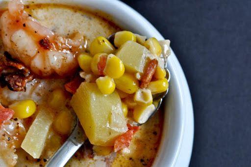 Fresh Corn Chowder with Bacon + Barbecue Shrimp Recipe on Yummly
