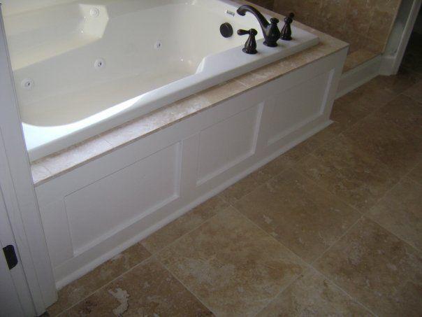 Tub surround master bath pinterest for Wood tile tub surround